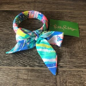 Lilly Pulitzer Bennet Blue Fabric Wrapped Bangle